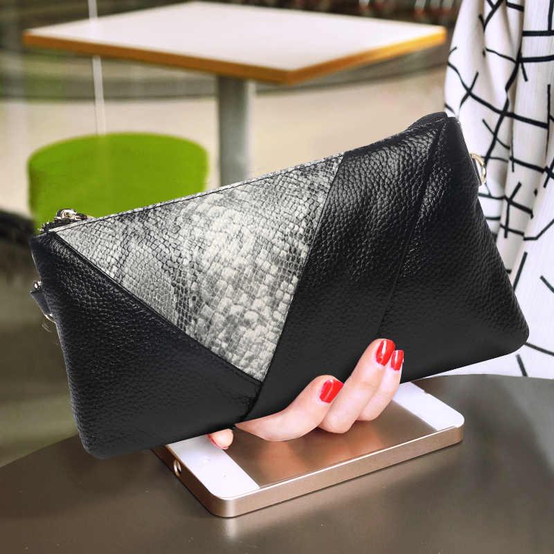 Мягкий женский клатч для банкета Длинный кошелек из натуральной кожи на молнии с
