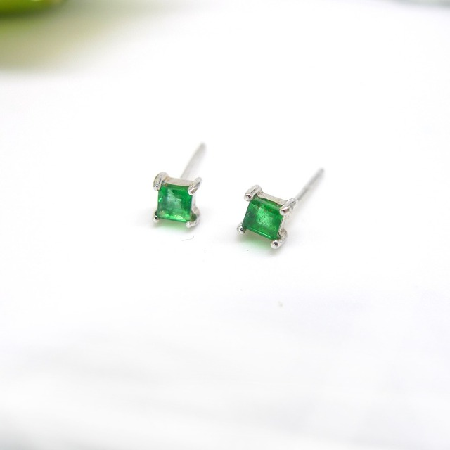 Natural Emerald Stud Earrings 0 5 Carat 925 Sterling Silver Green Fine Jewelry Wedding Engagement
