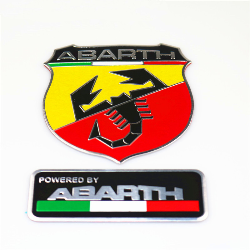 80*30mm abarth Labeling Car Aluminum Alloy Badge Sticker Emblem Decal car stickers For FIAT 500 Punto Stilo 124 125 695 OT2000 for fiat punto fiat 500 stilo panda small hole ventilate wear resistance pu leather front