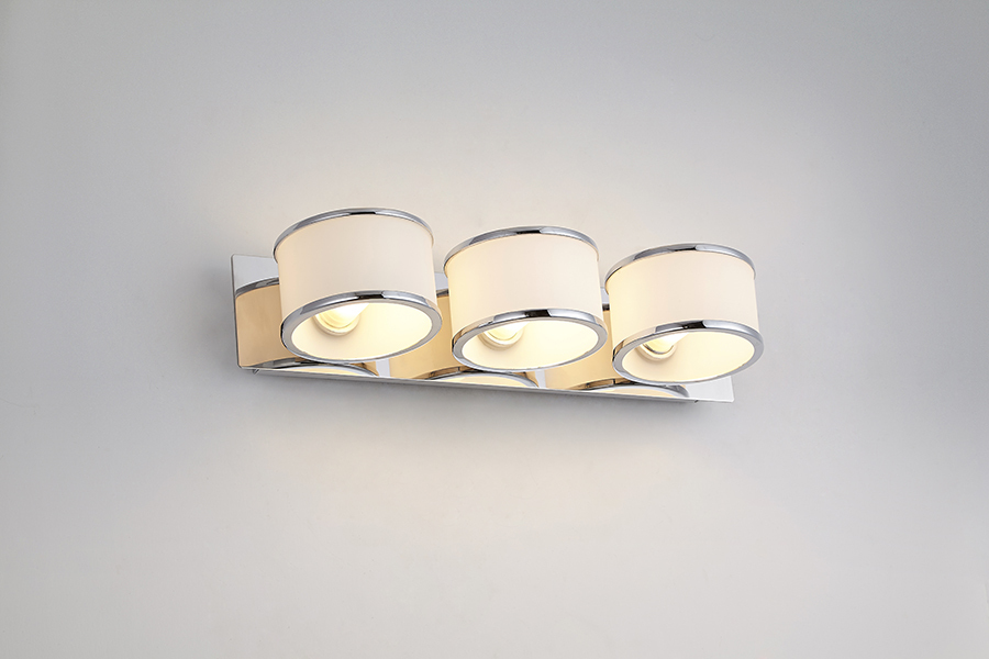 Modern white glass shinny chrome art deco sconces bathroom - Art deco bathroom lighting fixtures ...