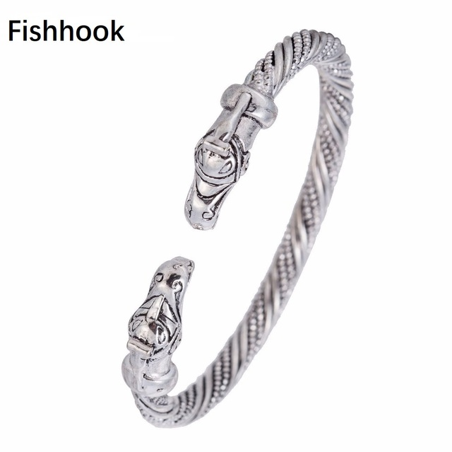 Fishhook Dragon Bangle Bracelets Silver Screw Bangles Mens Cuff