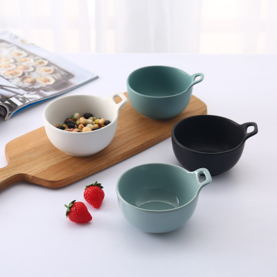 Bowl Grind ceramic creative single ear bowl Nordic simple rice lovers lovely fruit salad Baked bowl