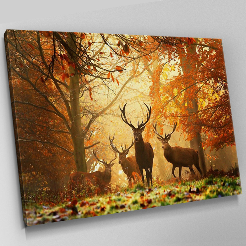 Large Canvas Pictures Arts reindeer Wall Art Prints Canvas Print ...