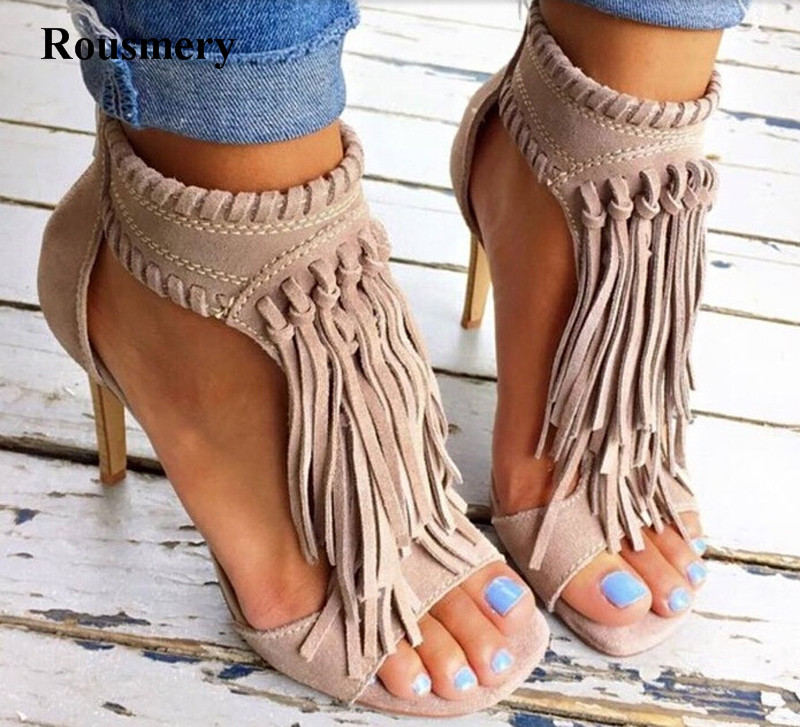 Women Charming Design Ankle Wrap Tassels Gladiator Sandals Peep Toe Cut-out Suede Leather High Heel Sandals Dress Shoes цены онлайн