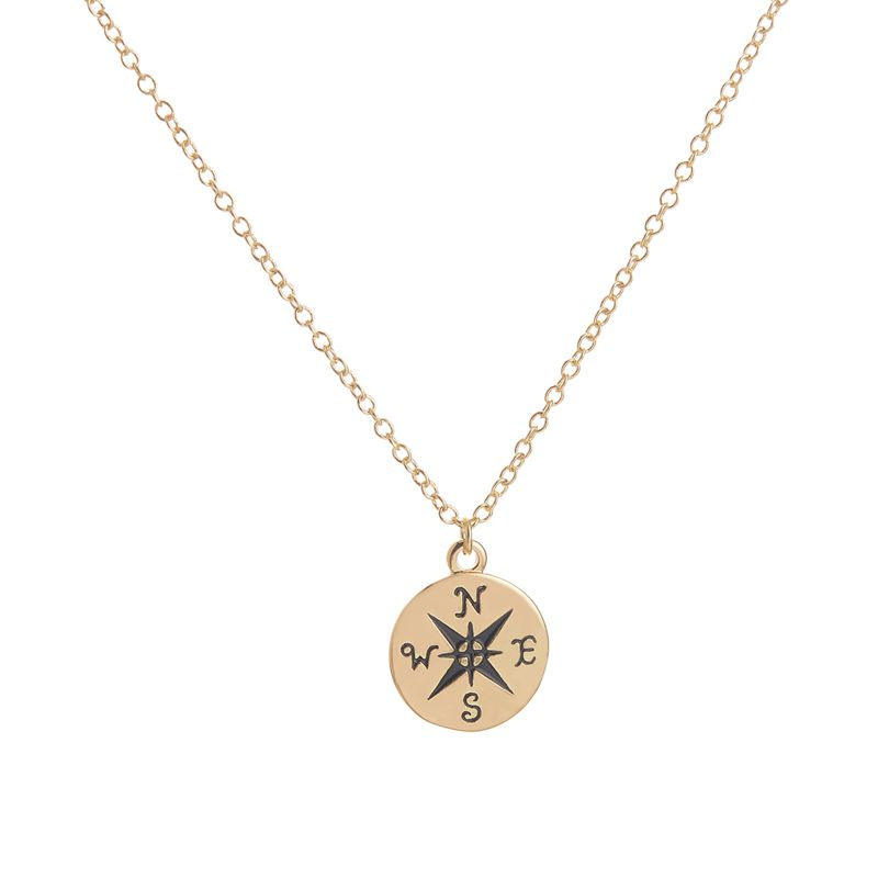SMJEL New Trendy Tiny Compass Engraved Necklaces Men Dainty Direction Pendant Necklace Women Graduation Gift 30pcs