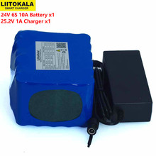 LiitoKal 24V 10Ah 6S5P 18650 Battery Lithium Battery 24V Electric Bicycle Moped Electric Li-ion Battery Pack+25.2V 2A Charger kluosi 7s5p 24v battery 29 4v 17 5ah ncr18650ga li ion battery pack with 20a bms balanced for electric motor bicycle scooter etc