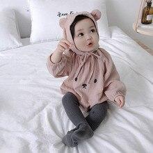 Боди для малышей+ шапочка, от 0 до 24 месяцев, в японском стиле, с длинными рукавами, Одежда для новорожденных девочек хлопковый комбинезон для младенцев, костюм с героями мультфильмов
