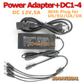 Best price 12V AC/DC 5A CCTV POWER ADAPTER +DC 1-4 SPLITTER for CCTV Camera Accessories Power Supply