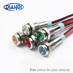 6 milímetros LEVOU luz Indicadora de Metal 6 milímetros à prova d' água lâmpada de Sinal 6 V 12 V 24 V 220 v com fio vermelho amarelo azul verde branco 6ZSD. X