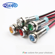 цена на LED Metal Indicator light 6mm waterproof Signal lamp 6V 12V 24V 220v with wire red yellow blue green white 6mmXHD.X