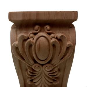 Image 4 - VZLX בציר לא צבוע עץ מגולף Onlay פינה אפליקצית דלת ארון קיר בבית רקע מסגרת אמנות עיצוב רגלי רהיטים