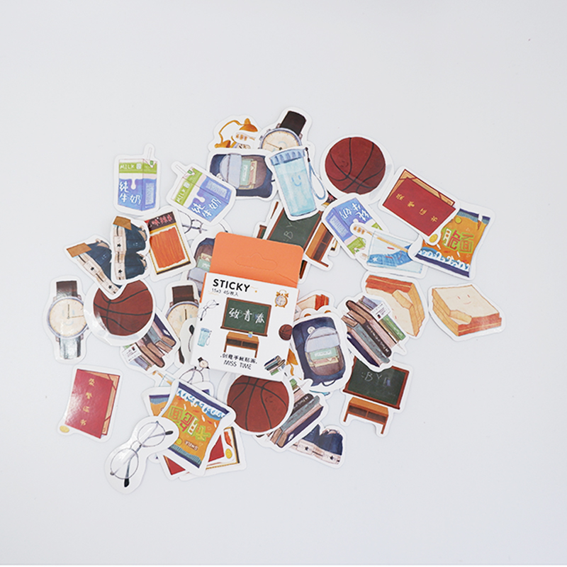 Купить с кэшбэком 45Pcs/box Creative school supplies Mini Decoration Paper Sticker DIY Scrapbook Notebook Album Sticker Kawaii Girl Stickers