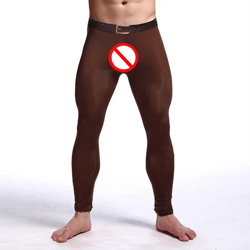 f936843144 ... Mens Brand Sexy Nylon Transparent Long Johns Printed Fake Belt Homme  lce Silk Sheer Leggings Bottoms