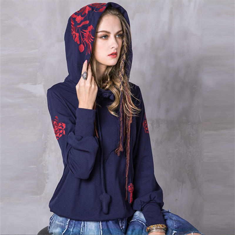 Vintage Women Hoodies 2017 Fashion Spring Cotton Sweatshirt Long Sleeve Floral Embroidery Skin Loose Hoodie Shirts High Quality