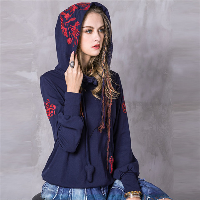 857eb0009fb Vintage Women Hoodies 2017 Fashion Spring Cotton Sweatshirt Long Sleeve  Floral Embroidery Skin Loose Hoodie Shirts