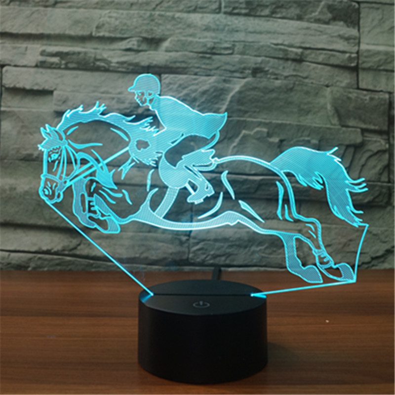 Riding Horse 3D Night Light Lamp 7 Colors LED USB 3D Illusion Lamp For Home Decor For Kids Toy Gift avengers hulk led night light 3d lamp luminaria de mesa lighting toy kids room led usb electronic gadget home decor bed light