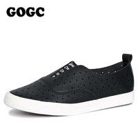 GOGC 2017 Slipony Women Hole Shoes Ladies Leather Shoes Women Flats Shoes Slip On Walking Shoes