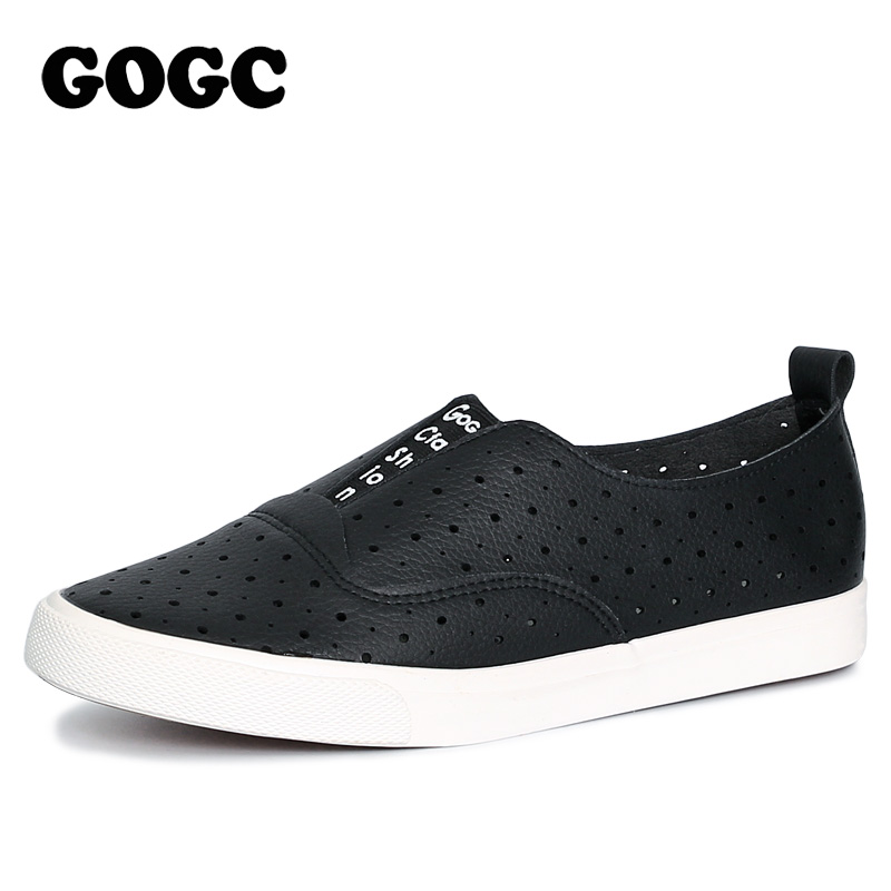 GOGC Slipony Women Hole Shoes Ladies Leather Shoes Breathable Soft Women Flats Shoes Vulcanized Slip on Causal Shoes Sneakers 2017 new women shoes fashion stud canvas shoes women causal shoes comfortable slip on shoes for women slipony ag11