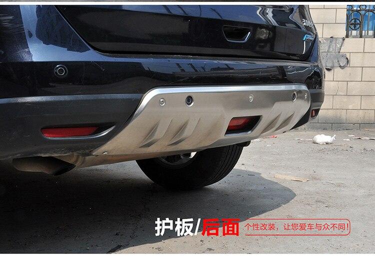 Accessoires en acier inoxydable plaque de protection avant et arrière 2 pièces pour Nissan x-trail Rogue 2014 2015 2016