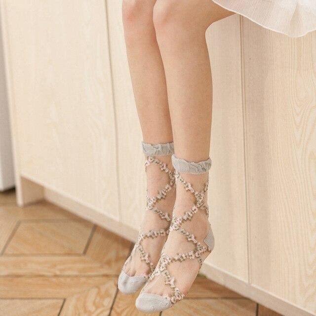Сексуальные кружевные сетчатые Шелковые Ажурные Носки волокна прозрачные эластичные лодыжки Чистая Пряжа тонкие женские крутые носки 1 пара = 2 шт. ws406