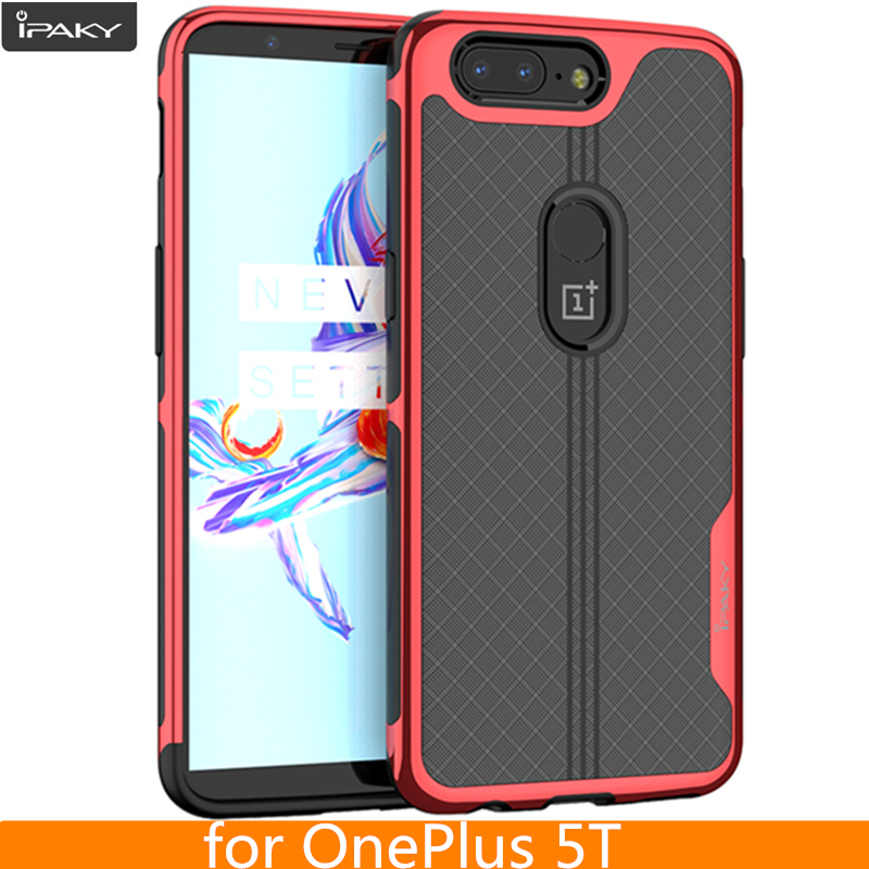 For OnePlus 5T Case Original iPaky Brand Armor Electroplated Bumper TPU Hybrid Transparent Coque Shockproof Case for OnePlus 5T