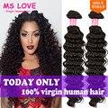Дешево Глубокая Волна Бразильских Волос 3 Пучки Человеческие Волосы Соткать Глубоко Вьющиеся Девственные Волосы Meches Bresilienne Участки Бразильский Глубокая Волна