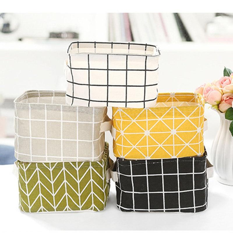 Cotton Linen Desktop Storage Basket Sundries Storage Box Makeup Cosmetic Underwear Organizer Stationery Container Case Holder