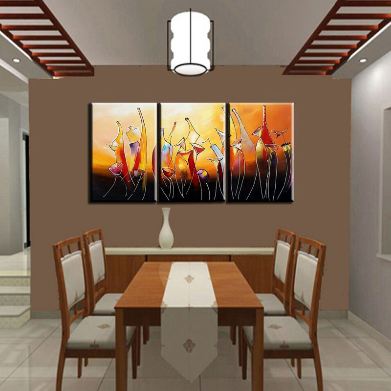 Hand Painted Modern Abstract Bottle Wine Oleo 3 Panel Canvas Painting For Kitchen Decor Wall Pictures Art Sets Unframed In Calligraphy From Home