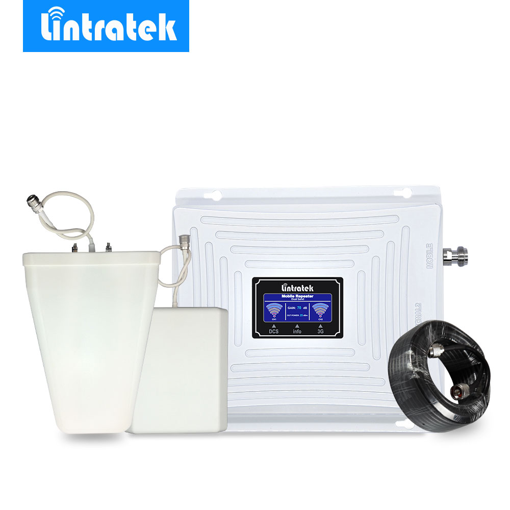 Lintratek 3G GSM 4G Signal Repeater 4G LTE 1800 GSM 1800MHz 3G UMTS 2100Mhz LCD Mobile Phone Signal Booster Amplifier Full Kit .