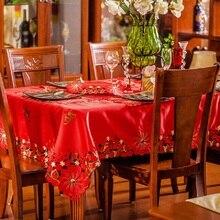 Europa Luxus Tischtuch Rot Bestickte tischabdeckung Satin Stoff Wasserdicht tischdecke Quadrat und Runde Für