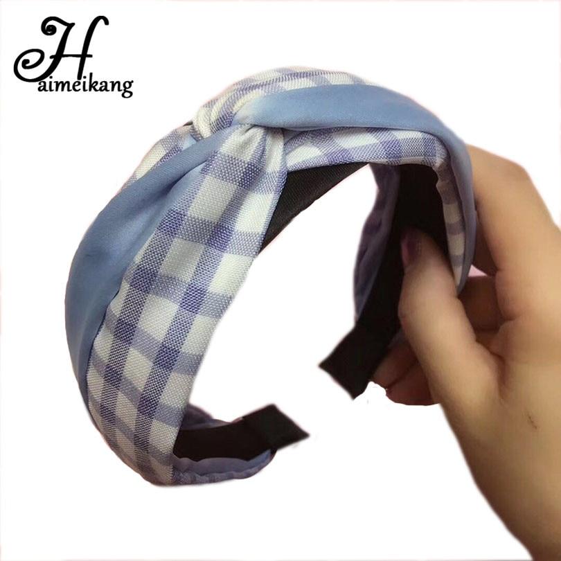 Haimeikang New Arrival Simple Cloth Headdress Hair Accessories Korean Grid Cross-Knot Wide Headband Hair Hoop Headgear