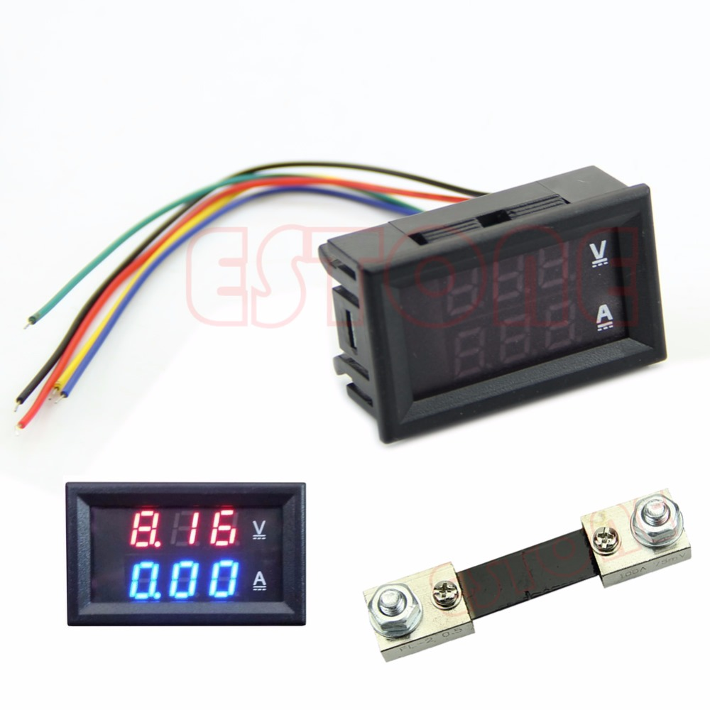 Digital Voltmeter Ammeter DC 100V 100A Dual LED Amp Volt Meter Shunt Voltage Tester Tools dc 5v 3 1a 4 in 1 led digital voltmeter ammeter thermometer dual usb universal car charger voltage current temperature meter