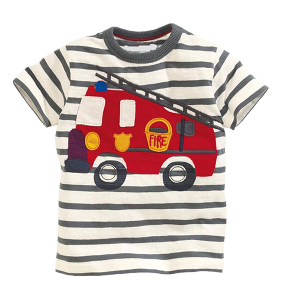 HTB1VpDhQFXXXXbaaXXXq6xXFXXXt - 100% Little Maven 2017 new summer baby boys clothes short sleeve O-neck t shirt pure Cotton Fire truck printing brand tee tops
