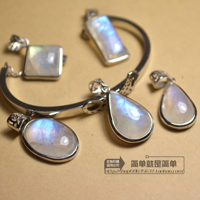 If water static natural moonstone pendant serging blu-ray rainbow light ice Choi month locket pendant for women