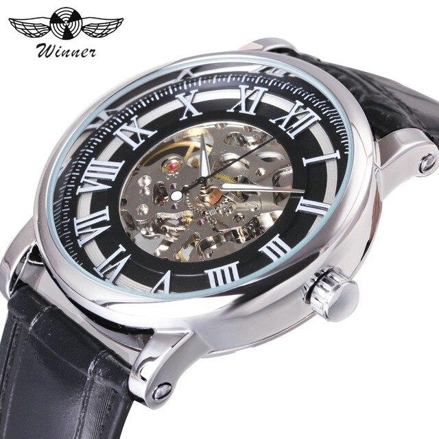Победитель ретро унисекс Женские Golden Rose Скелет механические часы коричневый кожаный ремешок Роман Количество классический стиль дамы наручные часы