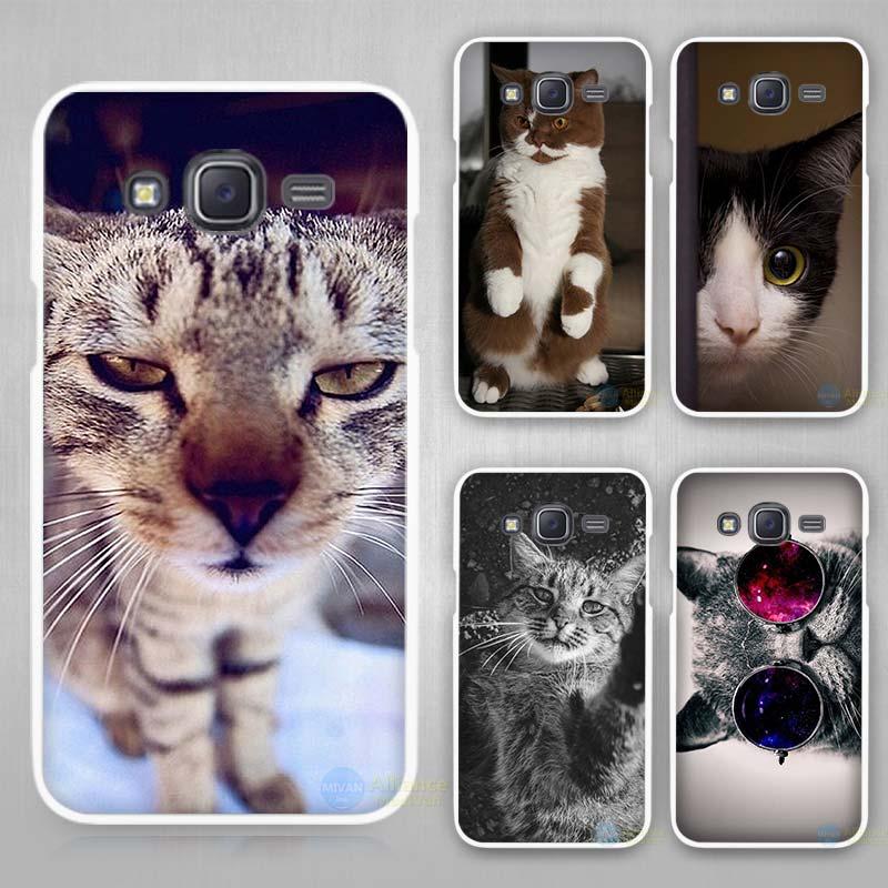 Забавный кот жесткий белый чехол для Samsung Galaxy J1 J2 J3 J5 J7 C5 C7 C9 E5 E7 2016