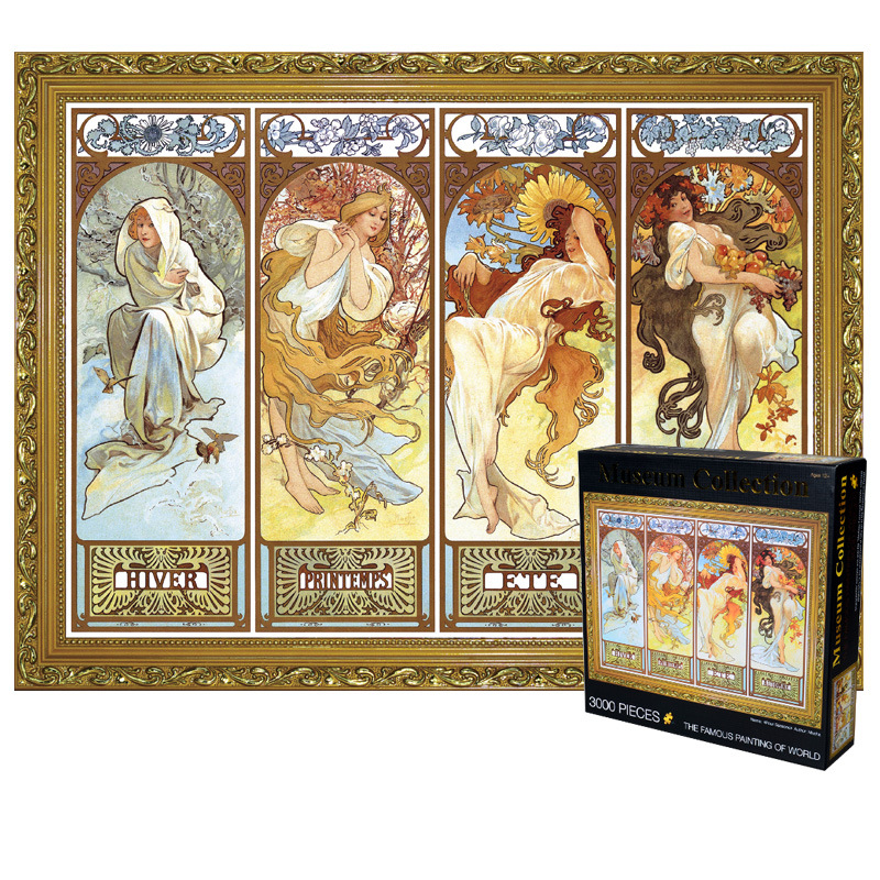 Adult 3000 Pieces Wooden Four Seasons Puzzle Oil Painting Adult Children Assembling Puzzles Toy