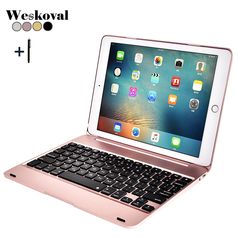 For iPad 9.7'' 2018 A1893 Wireless Bluetooth Keyboard Case For iPad 9.7 2017 A1822 Tablet Alloy Keyboard Cover For iPad Air 1 2 wireless removable bluetooth keyboard case cover touchpad for lenovo miix 2 3 300 10 1 thinkpad tablet 1 2 10 ideapad miix