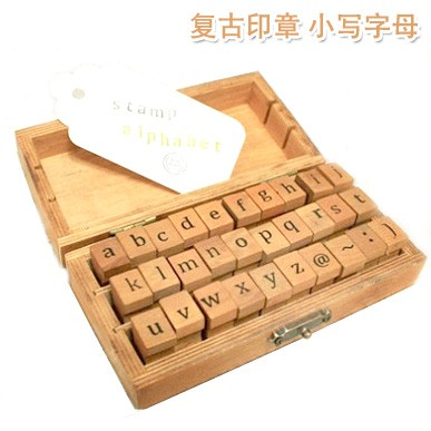 30pcsset new creative uppercase and lowercase letter wooden rubber scrapbooking decoration stamp set gift