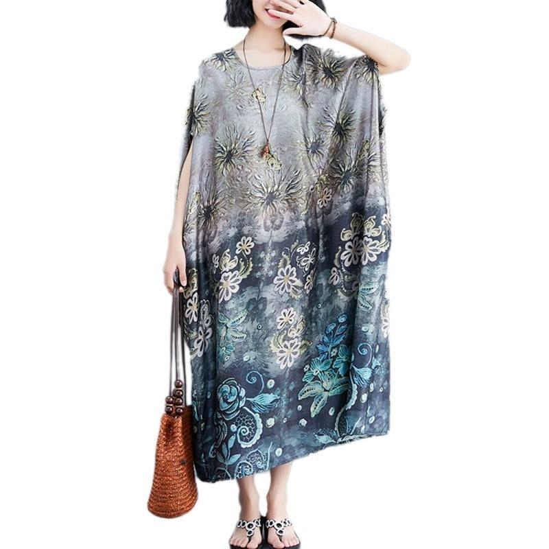 8aff88348e54dd DIMANAF Plus Size Vrouwen Jurk Vintage Big Size Vrouwelijke Vestido Zomer  Zonnejurk Batwing Losse Print Bloemen