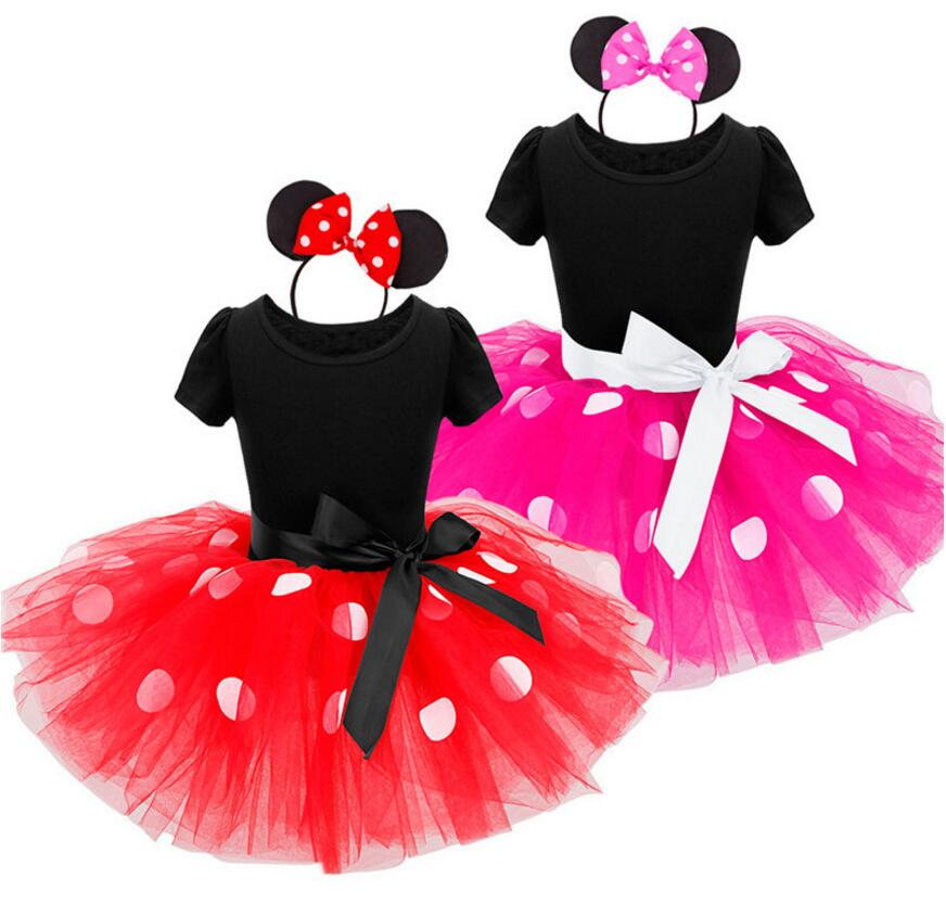 Girls Dresses For Party And Wedding Fancy Kids Elsa Costume Cosplay Girls Minnie Tutu Dress+Headband 9M-6Y Infant Baby Clothes newest girls princess tutu dress cosplay elsa dress christmas halloween costume for kids performance birthday dresses vestidos