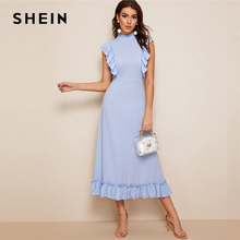 SHEIN Mock-Neck Ruffle Trim Fit And Flare Dress Blue Pastel Stand Collar Women Dresses Spring Summer Sleeveless Solid Dresses