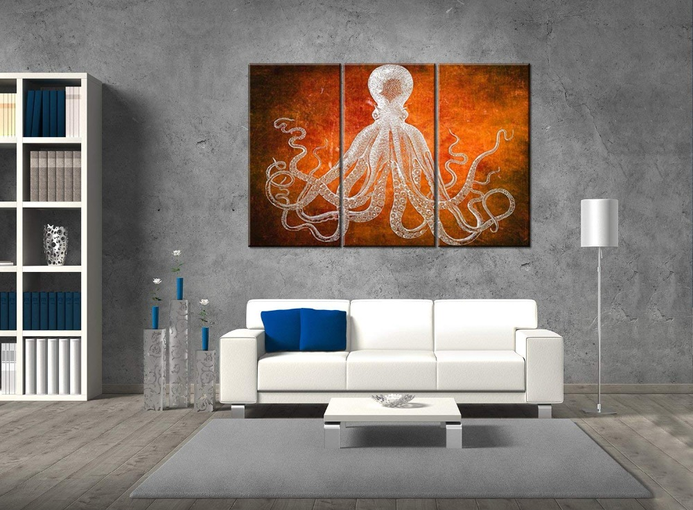 Canvas Painting Poster Modern Wall Art Poster Dark blue Octopus For Living Room Home Decor