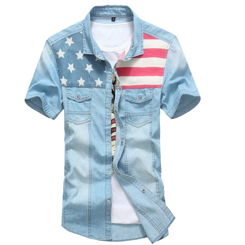 Stars And Stripes Denim Shirt Short Sleeve Shirt Thin UK Flag Shirt For Male For Cowboy