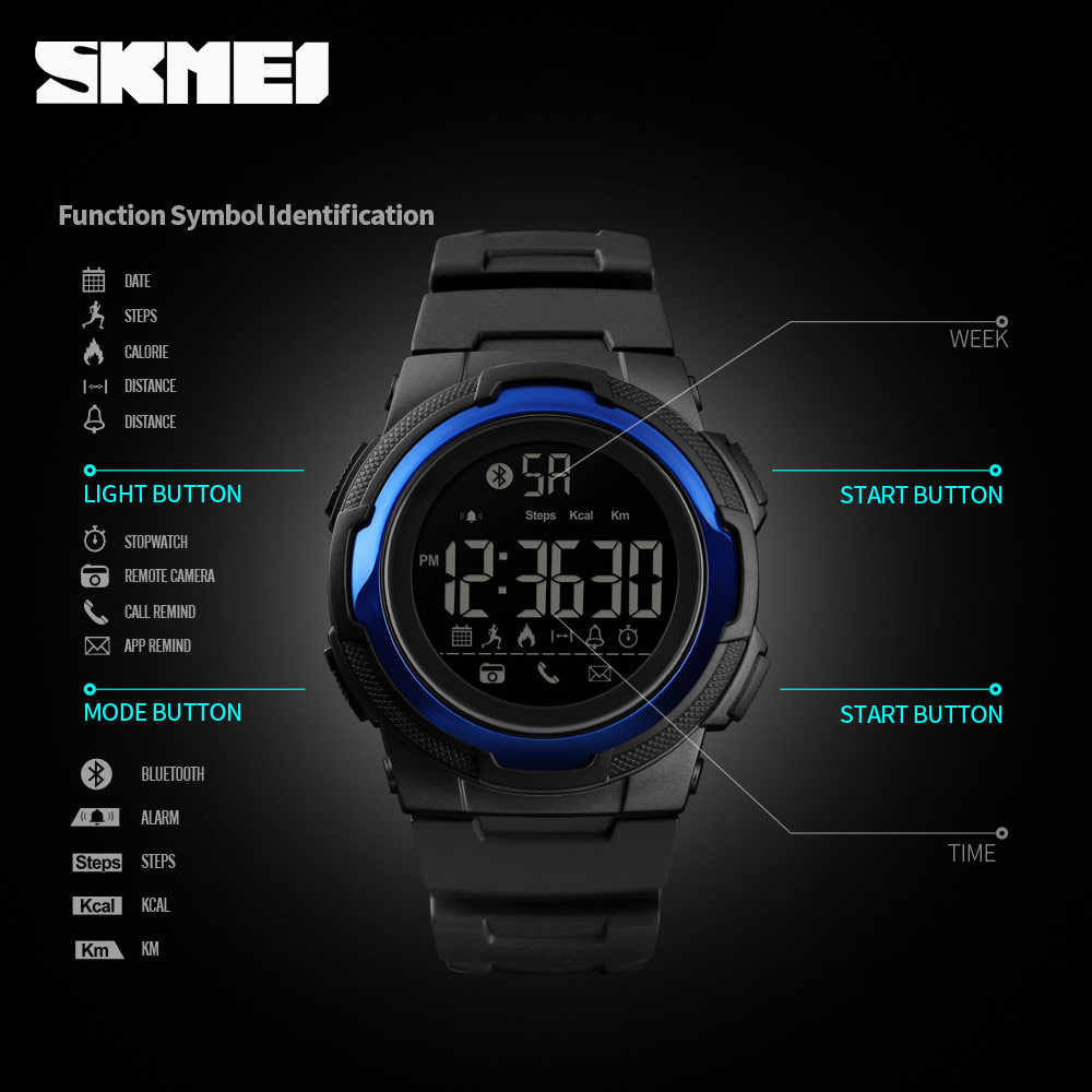 80ac48d70 ... SKMEI Men Sports Watch Bluetooth Smart Digital Clock Mens Top Luxury  Brand Waterproof PU Military Watchs
