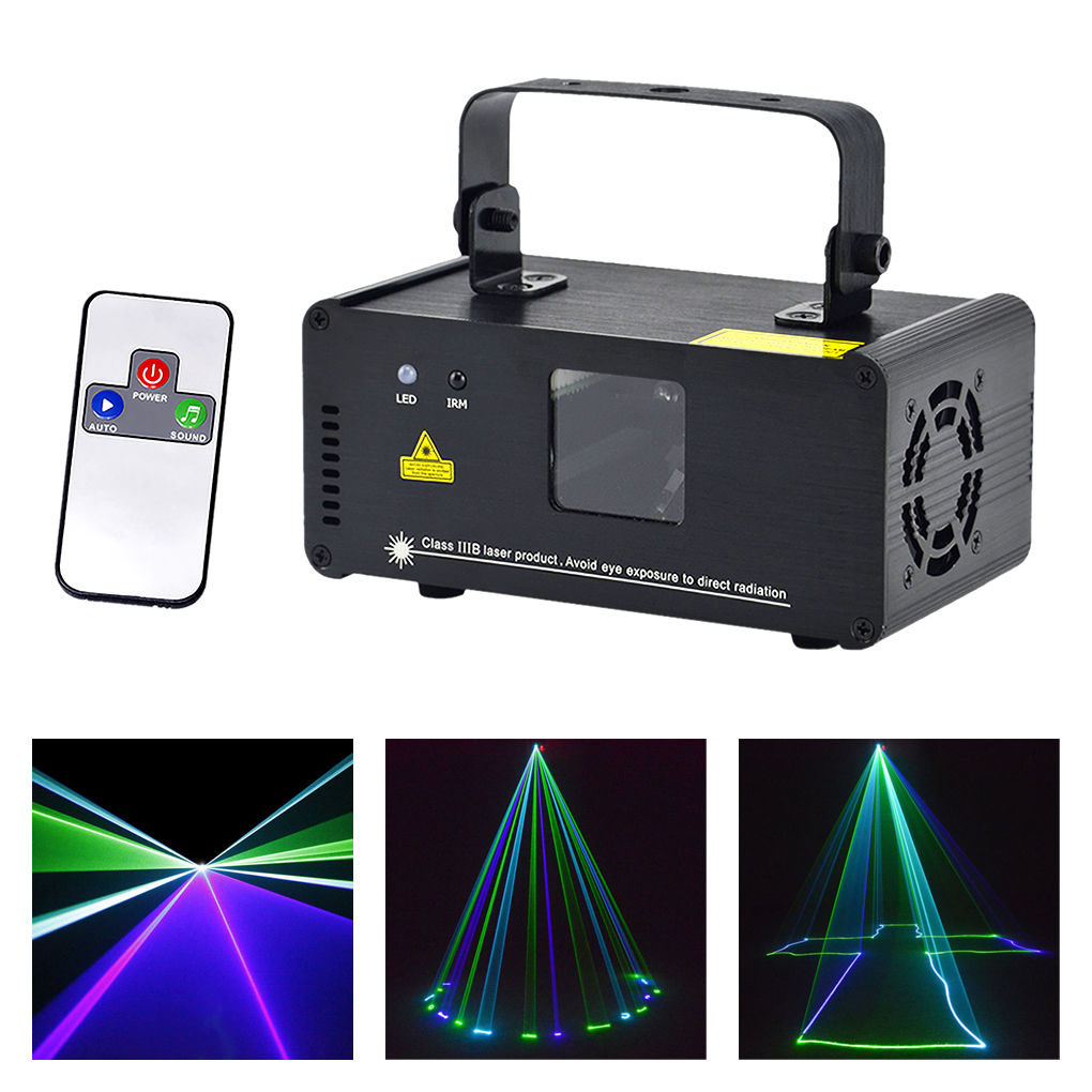 Mini Green Blue Cyan GBC Laser Stage Lighting Wireless Remote Sound 8 CH DMX Scanner Lamp DJ Party Show Projector Lights GBC200