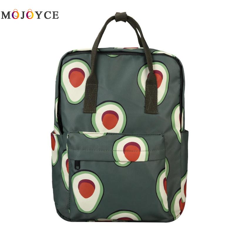 2019 Cartoon Fruits Animals Print Women Canvas Backpack Large Capacity Students Travel School Bagpack Avocado Backpack