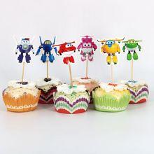 24 шт Супер торт украшения зубочистка карты свадебные церемонии день рождения робот вечерние украшения торт карты