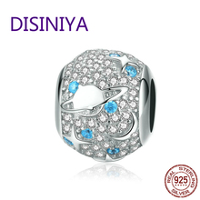 925 Sterling Silver Pave Czech Round Bead Star Charm Fit  Original Bracelet With Cubic Zirconia  DIY Accessories Jewelry SCC1217 недорого