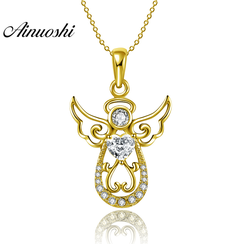 AINUOSHI 10K Solid Yellow Gold Pendant Hollow Angel Pendant SONA Diamond Women Men Jewelry Adorable Cherub 1.9g Separate Pendant тюнер little angel cherub wst 600b